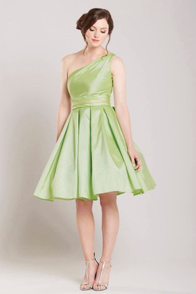 A Line Pleated Short Mini One Shoulder Sleeveless Satin Bridesmaid Dress