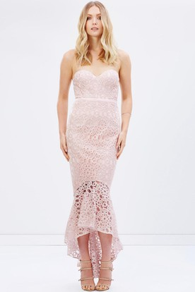 Mermaid High-Low Sleeveless Sweetheart Ribboned Lace Bridesmaid Dress