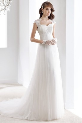 Cap Sleeve Draping Bridal Gown With Queen-Anna Neckline And Keyhole Back
