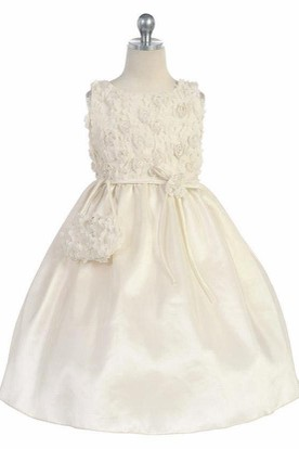 Midi Bowed Embroideried Tulle&Taffeta Flower Girl Dress With Split