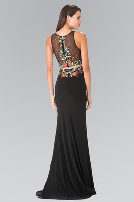 Sheath Scoop-Neck Sleeveless Jersey Illusion Dress With Embroidery