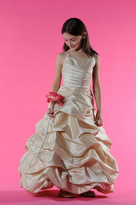 Flower Girl Square Neck A-line Taffeta Long Dress With Ruffles