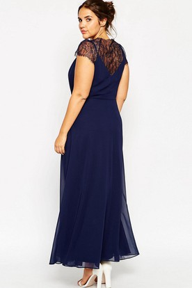 Ankle-Length V-Neck Cap Sleeve Appliqued Chiffon Bridesmaid Dress