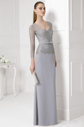 Floor-Length Illusion Sleeve Appliqued V-Neck Jersey Prom Dress