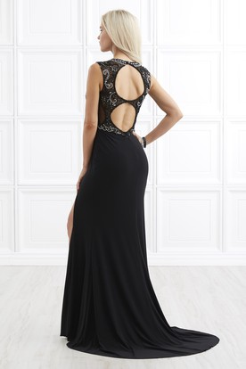 Sheath Jewel-Neck Sleeveless Jersey Keyhole Dress With Split Front And Beading