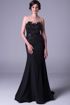 Sheath Sleeveless Beaded Floor-Length Scoop-Neck Chiffon Prom Dress