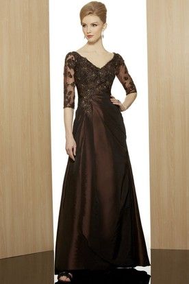 Sheath Ankle-Length Appliqued Half-Sleeve V-Neck Satin Formal Dress With Beading