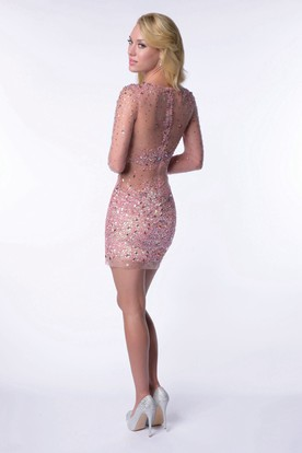 Sequined Short Sheath Illusion Homecoming Dress With Long Sleeve