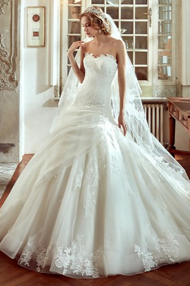 Strapless Brush-train A-Line Wedding Dress with Side Draping and Embroideries