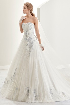Strapless Flower-sash A-line Bridal Gown with Fine Appliques and Brush Train