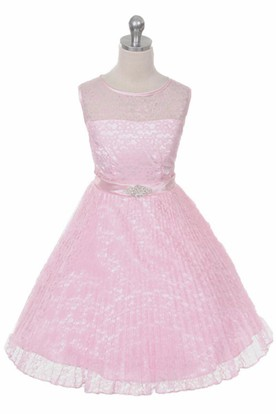 Tea-Length Illusion Pleated Lace&Satin Flower Girl Dress