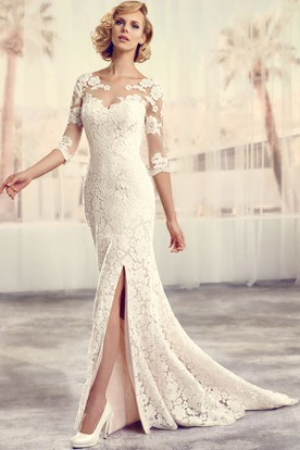 Floor-Length Scoop Split-Front Long-Sleeve Lace Wedding Dress