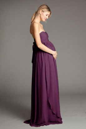 Sweetheart Bowed Empire Sleeveless Chiffon Bridesmaid Dress