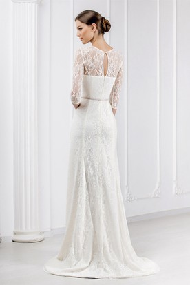 Sheath Ribboned Jewel Neck 3-4 Sleeve Lace Wedding Dress With Brush Train