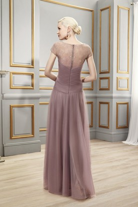 A-Line Short-Sleeve V-Neck Ruched Floor-Length Tulle Formal Dress With Illusion Back And Pleats