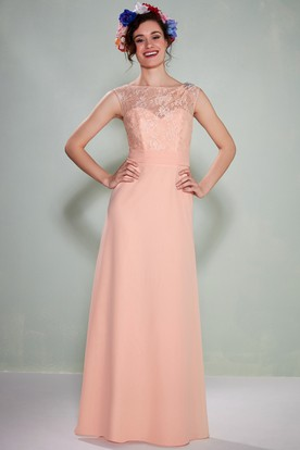 Sleeveless Bateau Neck Chiffon Bridesmaid Dress