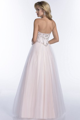 Free Prom Dresses Dayton Ohio. A-Line Tulle Sweetheart Prom Dress With Jeweled Corset