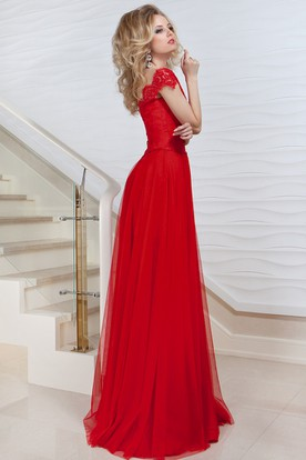 A-Line Long Bateau Cap-Sleeve Pleated Tulle&Lace Prom Dress With Low-V Back