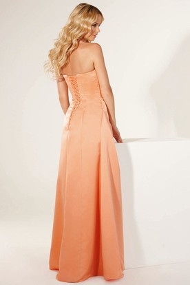 Sleeveless Sweetheart Side-Draped Satin Bridesmaid Dress With Lace-Up
