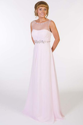 A-Line Sleeveless Floor-Length Beaded Scoop-Neck Chiffon Prom Dress With Waist Jewellery