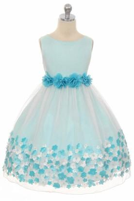 Tea-Length Tiered Chiffon&Satin Flower Girl Dress