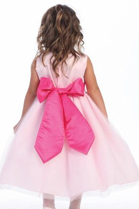 Tea-Length Floral Tiered Tulle&Satin Flower Girl Dress