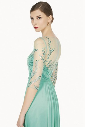 Bateau Tulle Half Sleeve A-Line Chiffon Long Prom Dress With Sequins And Bow