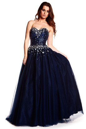 A-Line Crystal Sleeveless Sweetheart Tulle Prom Dress
