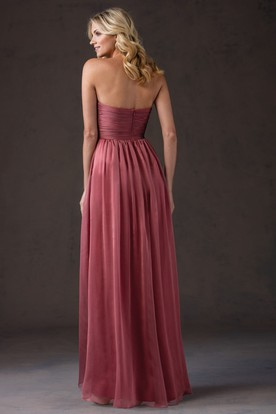 Sweetheart A-Line High-Low Gown With Crisscrossed Ruches