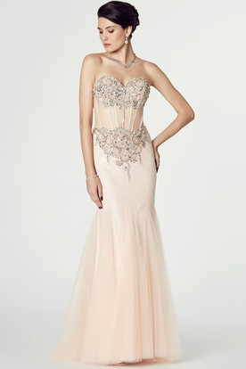 Mermaid Sleeveless Appliqued Sweetheart Tulle Prom Dress