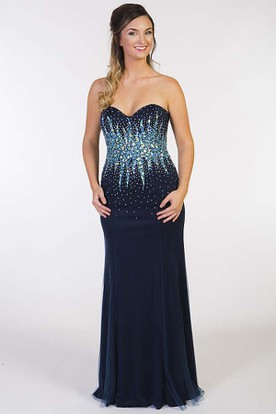 Sheath Sleeveless Crystal Sweetheart Floor-Length Jersey Prom Dress With Lace-Up Back