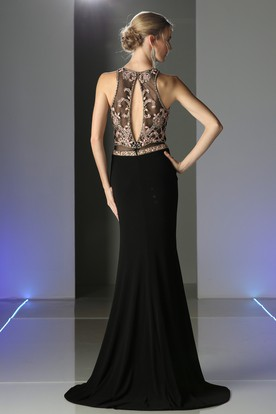 Sheath Scoop-Neck Sleeveless Jersey Illusion Dress With Split Front And Beading