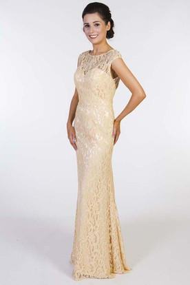 Sheath Cap Sleeve Scoop Neck Beaded Lace Prom Dress