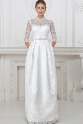 High Neck Half-Sleeve Long Lace Wedding Dress With Waist Jewellery And Corset Back