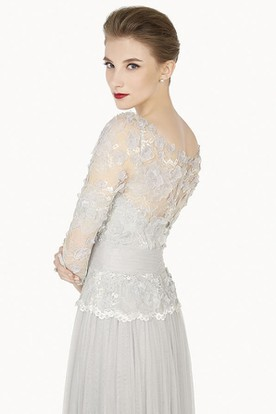 Sheath Floor-Length 3-4-Sleeve Appliqued Scoop-Neck Tulle Prom Dress With Flower