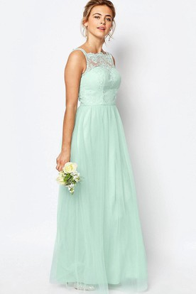 Ankle-Length A-Line Sleeveless Bateau Neck Lace Tulle Bridesmaid Dress