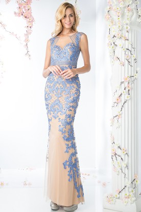 Sheath Bateau Sleeveless Keyhole Dress With Appliques And Beading