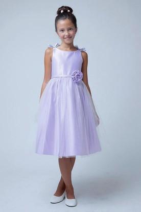 Sleeveless Bowed Tulle&Satin Flower Girl Dress