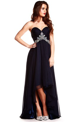 High-Low Sweetheart Sleeveless Sequined Chiffon Prom Dress