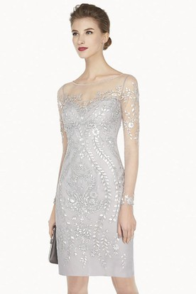 Illusion Jewel Neck Long Sleeve Sheath Short Prom Dress With Sequined Leaves