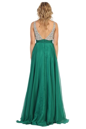 A-Line Maxi V-Neck Sleeveless Chiffon Deep-V Back Dress With Beading And Pleats