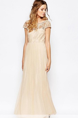 Ankle-Length Appliqued Scoop Neck Cap Sleeve Tulle Bridesmaid Dress
