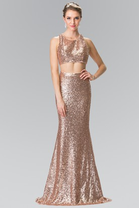 Two-Piece Sheath Maxi Scoop-Neck Sleeveless Sequins Zipper Dress