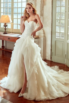 Sweetheart High-Low Wedding Dress with Ruching Skirt and Lace Corset