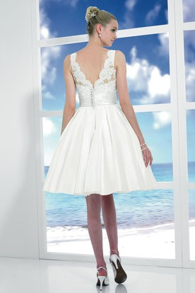 Midi Scoop Appliqued Satin Wedding Dress With Bow And V Back