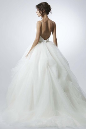 Long Spaghetti Jeweled Tulle Wedding Dress With Sweep Train And V Back