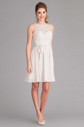 Mini Scoop-Neck Lace Chiffon Wedding Dress With Ribbon