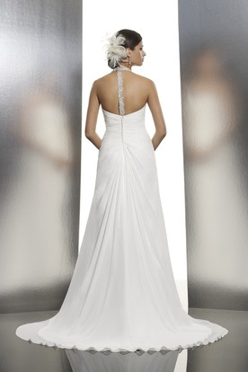 A-Line Halter Floor-Length Sleeveless Ruched Chiffon Wedding Dress With Split Front