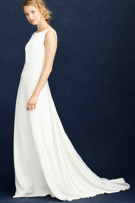 Sheath Scoop-Neck Sleeveless Maxi Satin Chiffon Wedding Dress