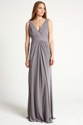 Floor-Length Sleeveless Ruched V-Neck Chiffon Bridesmaid Dress
